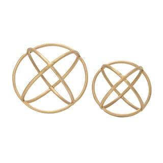 Set of 2 Golden Orb Rings Decor 10-inch, 8-inch