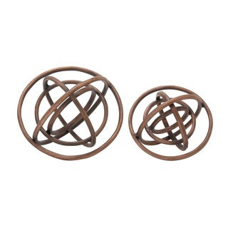 Aluminum Ring Patterned Orb Set of 2 10-inch, 8-inch