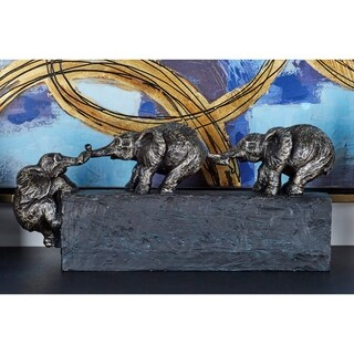 Traditional 8 Inch Interlocked Resin Elephant Sculpture by Studio 350