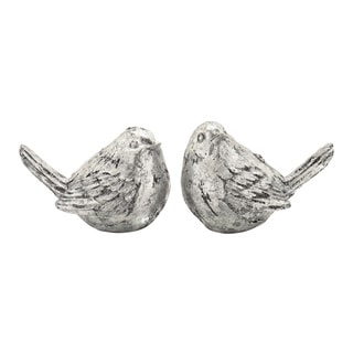 Polystone Gold Bird Set of 2 8-inch, 6-inch - Thumbnail 0