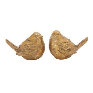 The Gray Barn Joyful Stream Polystone Gold Bird 8-inch, 6-inch (Set of 2)