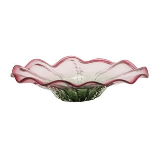 Glass Pink Green Dish 18-inch, 5-inch