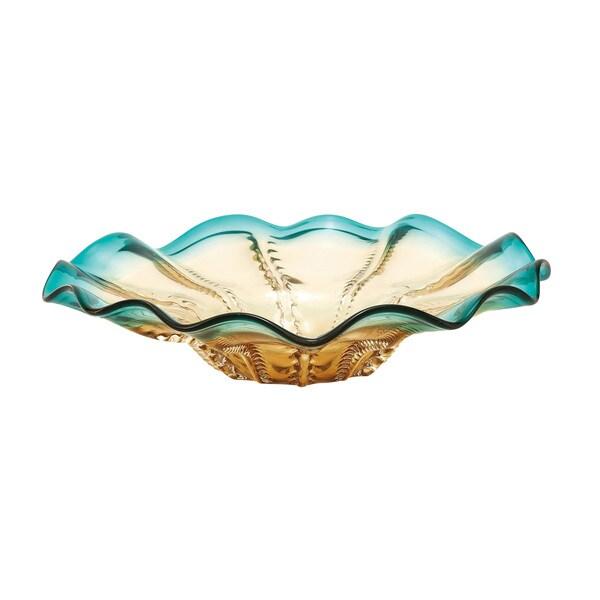 Glass Amber Blue Dish 18-inch, 5-inch