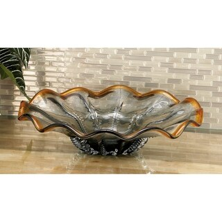 Modern 5 x 18 Inch Round Textured Fluted Glass Dish by Studio 350