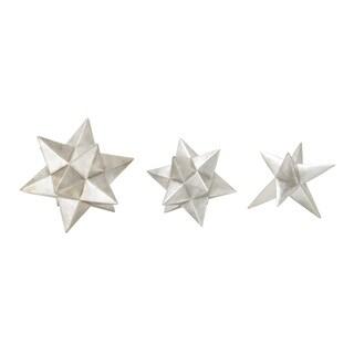 Polystyrene Silver Star Set Of 3 8-inch, 7-inch, 7-inch