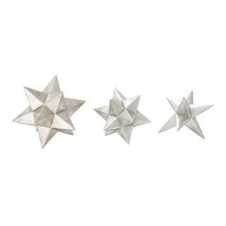 Polystyrene Silver Star Set Of 3 8-inch, 7-inch, 7-inch (Silver)