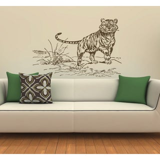 Tiger on the nature Wall Art Sticker Decal Brown