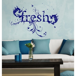 Fresh flowers birds herb Wall Art Sticker Decal Blue