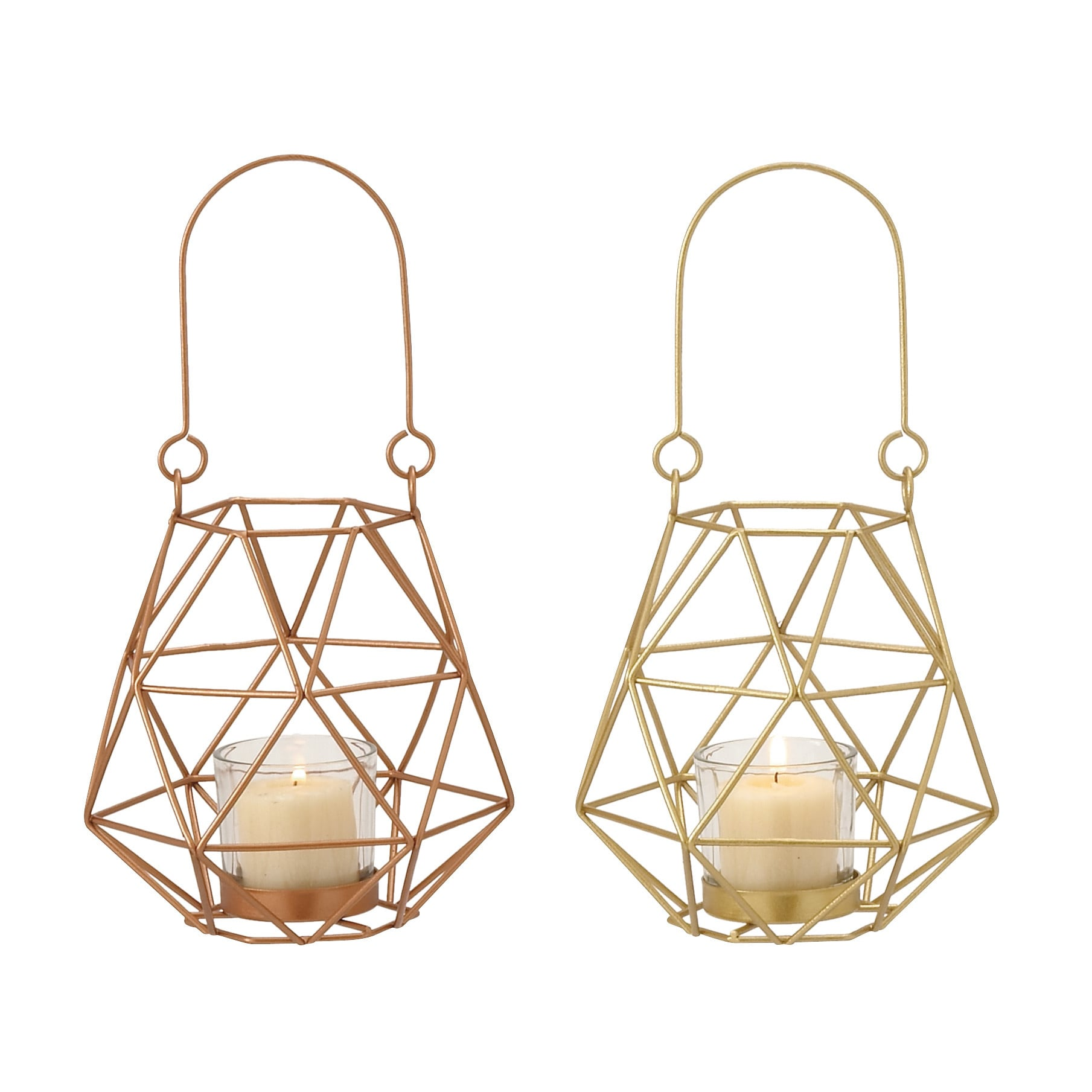 Metal Glass Rope Lantern 2 Assorted 5-inch, 5-inch