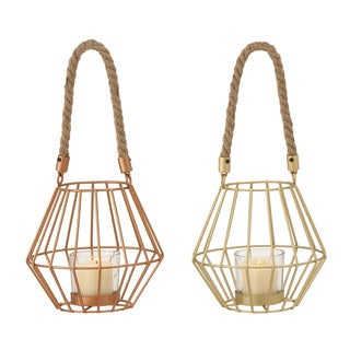 Metal Glass Rope Lantern 2 Assorted 6-inch, 5-inch