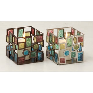 Glass Mosaic Candle Votive s/2 4-inch, 4-inch