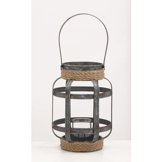 Metal Glass Rope Candle Lantern 9-inch, 12-inch