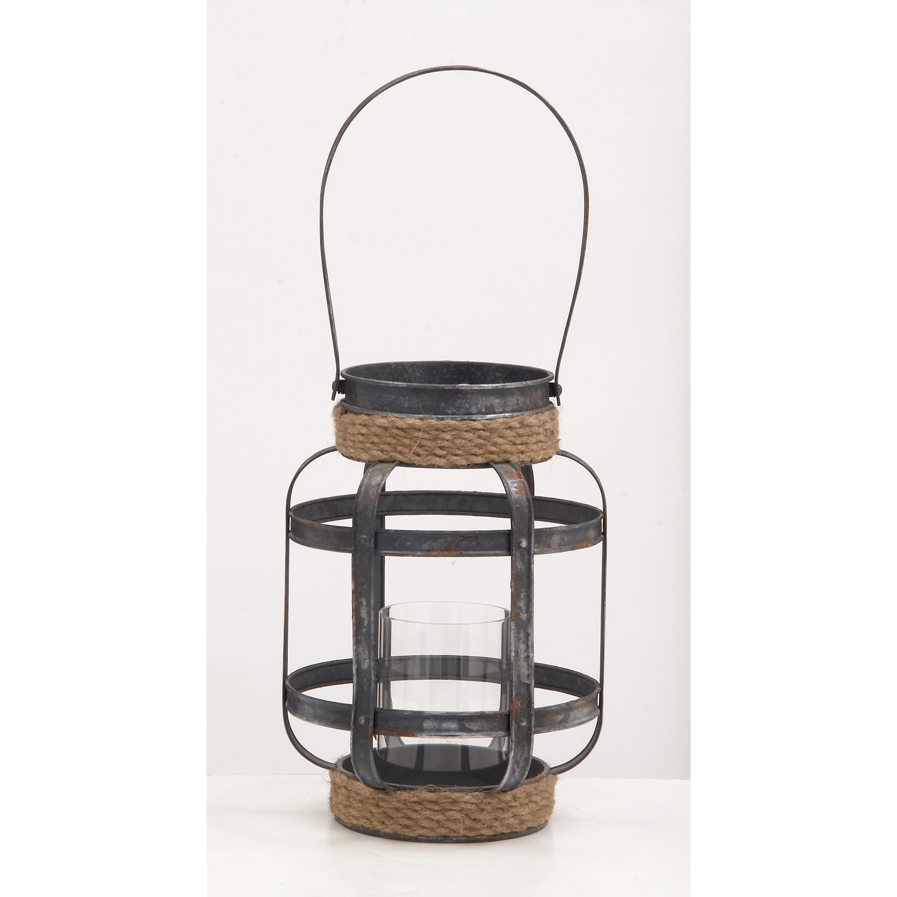 Metal Glass Rope Candle Lantern 9-inch, 13-inch