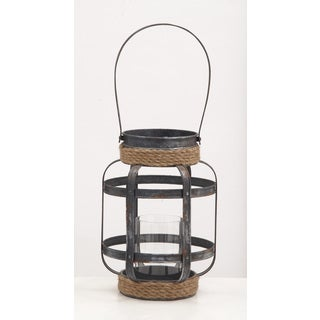 Metal Glass Rope Candle Lantern 9-inch, 13-inch - Thumbnail 0