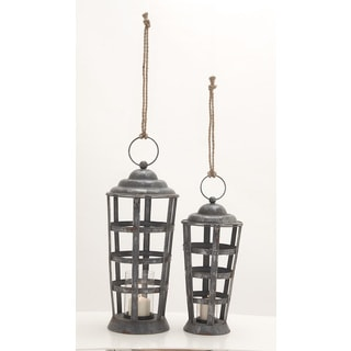 Metal Glass Candle Lantern Set Of 2 18-inch, 22-inch