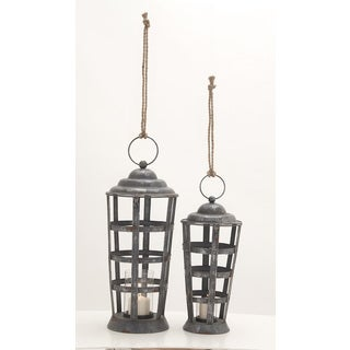 Pine Canopy Comfrey Metal Glass Candle Lantern (Set of 2)