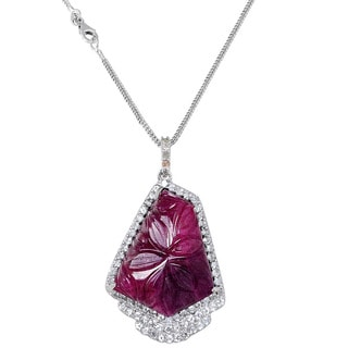 Orchid Jewelry One of A Kind 925 Sterling Silver Necklace 33.20ct TGW Genuine Diamond, Ruby and White Topaz