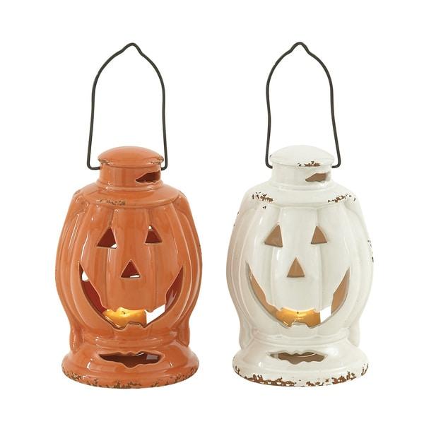 2 Assorted Ceramic Halloween Lantern