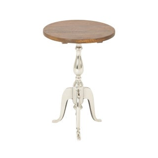 Durable Metal Wood Round Accent Table