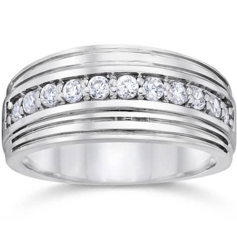 10k White Gold 1/2ct TDW Men's Diamond Wedding Ring