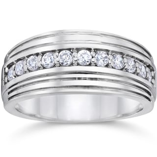 10k White Gold 1/2ct TDW Men's Diamond Wedding Ring (I-J, I2-I3)