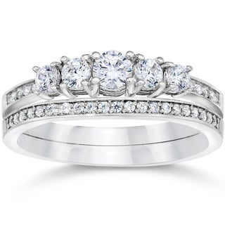10k White Gold 5/8ct TDW Vintage Real Diamond Engagement Wedding Ring Set