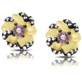 Samantha Stone Gold Over Silver Cubic Zirconia and Simulated Amethyst Flower Stud Earrings