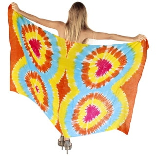 La Leela Gentle Rayon Hand Tie Dye Hearts Beach Cover up Sarong 78X43Inch Yellow