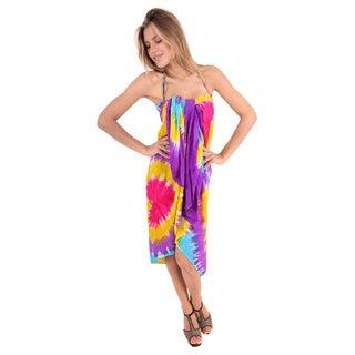 La Leela Women's Rayon Beachwear Hand Tie Dye Bikini Swimsuit Cover up Sarong Purple 3X