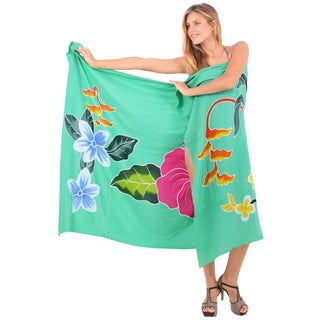 La Leela Smooth Rayon Hand Painted Hibiscus Sarong Pareo Wrap 78X43 Inch Green