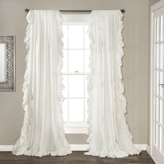 Lush Decor Reyna Curtain Panel Pair in White 84 x 54(As Is Item)