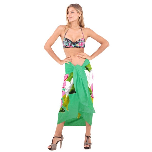La Leela Soft Rayon Caribbean Troupe Beach Sarong Cover Up Wrap 78x43 Inch Green