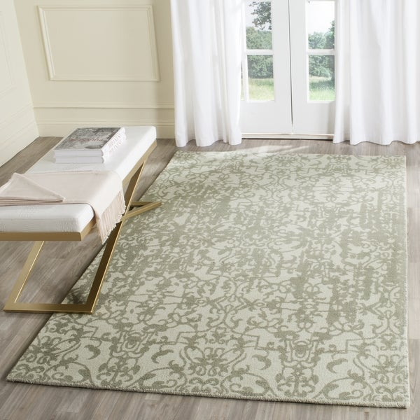 Safavieh Handmade Restoration Vintage Light Sage/ Grey Wool Distressed Area Rug (4' x 6')