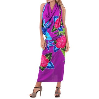 La Leela Hibiscus Cluster Branch Soft Rayon Coverup Sarong Wrap 78X43Inch Purple
