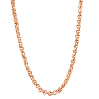 Gioelli Rose Goldplated Sterling Silver Thick Rolo 4.5mm Chain Necklace