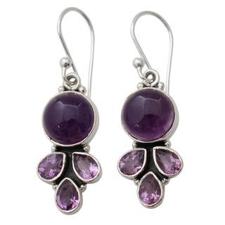 Handcrafted Sterling Silver 'Lilac Color' Amethyst Earrings (India)
