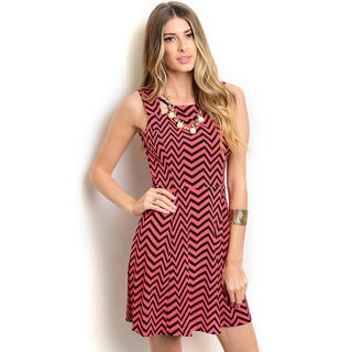 Shop the Trends Women's Sleeveless Fit And Flare Missy Dress With Allover Striped Print And Cutout Yoke