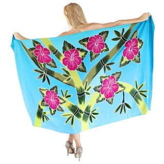 La Leela Hibiscus Cluster Branch Smooth Rayon Cover up Sarong 78X43 In Turquoise