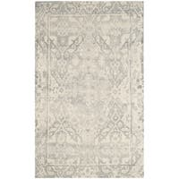 Safavieh Handmade Restoration Vintage Light Grey / Ivory Wool Distressed Rug - 4' x 6'