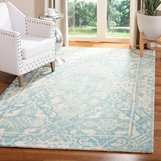 Safavieh Handmade Restoration Vintage Light Blue/ Ivory Wool Rug (4' x 6')