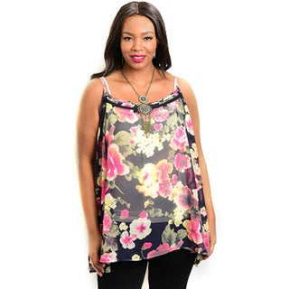 Shop the Trends Women's Plus Size Spaghetti Strap Sheer Top With Allover Floral Print And Round Neckline
