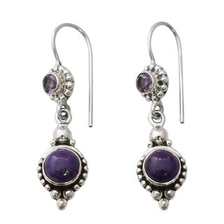 Sterling Silver 'Violet Reverie' Amethyst Turquoise Earrings (India)