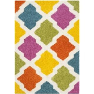 Safavieh Kids Shag Ivory/ Multi Rainbow Geometric Rug (5' 3 x 7' 6)