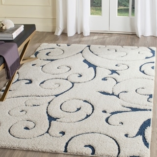 Safavieh Florida Shag Scrollwork Elegance Cream/ Blue Area Rug (4' x 6')