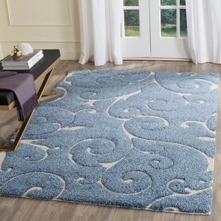 Safavieh Florida Shag Scrollwork Elegance Light Blue/ Cream Area Rug (4' x 6')