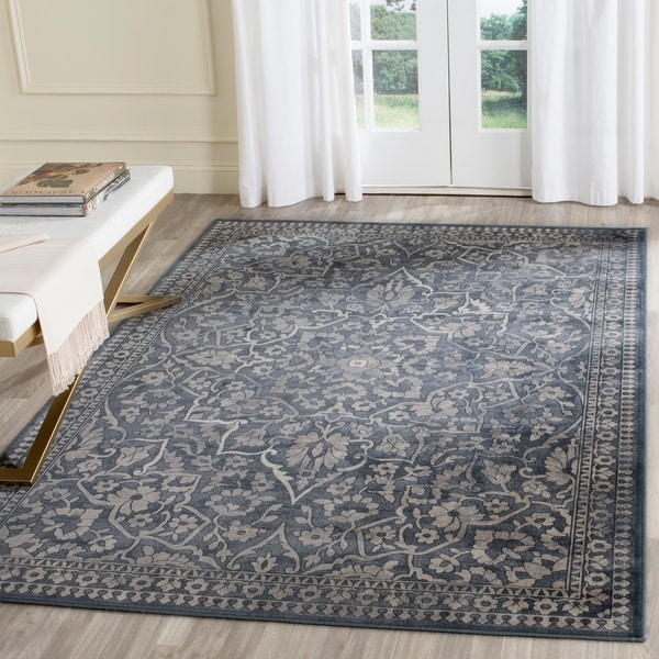 Safavieh Vintage Blue/ Light Grey Distressed Silky Viscose Rug - 4' x 5' 7