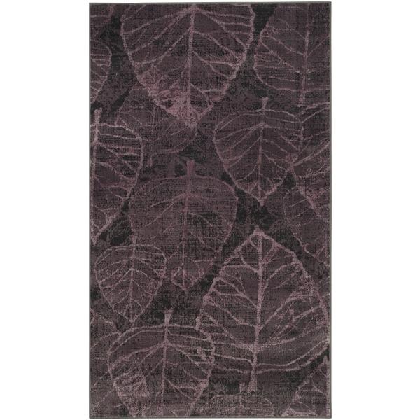 Safavieh Vintage Charcoal/ Multi Botanical Distressed Silky Viscose Rug (3'3 x 5'7)