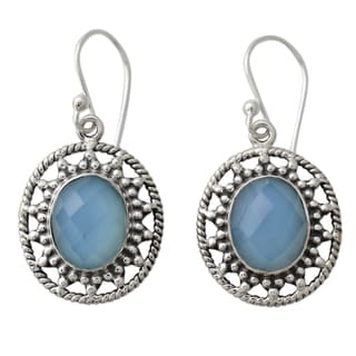 Handcrafted Sterling Silver 'Azure Ice' Chalcedony Earrings (India)