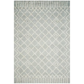 Safavieh Handmade Casablanca Shag Santina Tribal Wool Rug (5 x 8 - Blue/Ivory)