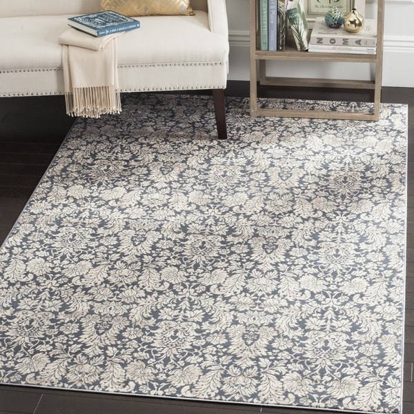 Safavieh Vintage Damask Navy/ Cream Distressed Rug (3' x 5')